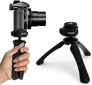 iGadgitz U4330 Mini Ligera Trípode de Mesa & Mano Estabilizador Compatible con Cámara Digital Réflex Digital Cámara de Vídeo y Videocámara – Negro