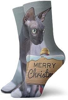 BJAMAJ, BJAMAJ Calcetines Unisex para Gato, sin Pelo, de poliéster, con diseño de Sphynx, Ideales para Navidad