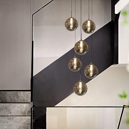 KBEST Luminaire Suspension Boule Verre Boule escalier Suspendu Lampes suspendues Lustre RÉglable en Hauteur Lampe d'escalier Longue en Verre Simple Moderne Minimaliste Lumière (Gris, 6 lumières)