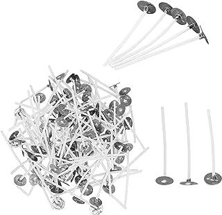 PandaHall 200 st bomullsljus veke funktionellt rökfritt ljus vekar korta förvaxade kärnvekar med metallflikar för ljusbur...