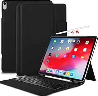 IVSO Keyboard Case for iPad Pro 12.9 2018-3rd Gen One-Piece Wireless Keyboard [Compatible Apple Pencil Charging] Auto Wake Sleep Case with Keyboard for iPad Pro 12.9 2018 (Not for 2017/2015) Black