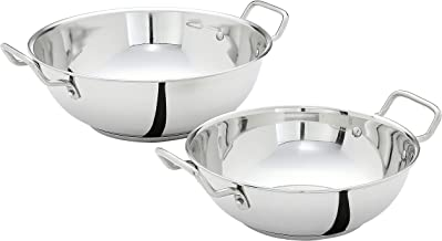 Amazon Brand - Solimo Stainless Steel Induction Bottom Kadhai Set (2 pieces, Size 12 and 14)