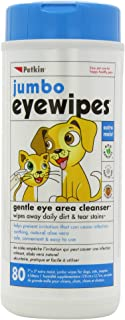 Petkin Jumbo Pet Eye Wipes, 80 Extra Moist Wipes - Gentle Eye Cleansing Wipes Remove Dirt, Discharge, & Tear Stains - Safe...