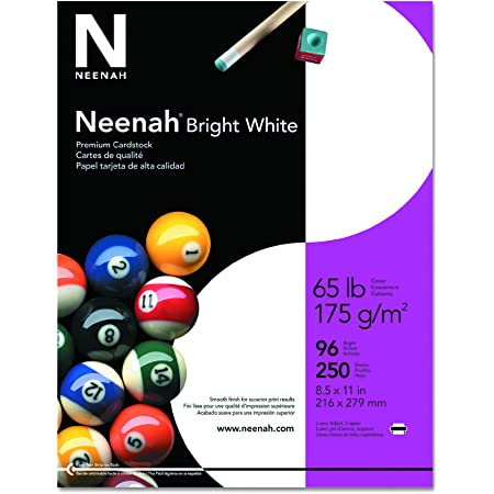 """Neenah Bright White Cardstock, 8.5"""" x 11"""", 65 lb/176 gsm, 250 Sheets (91904)"""