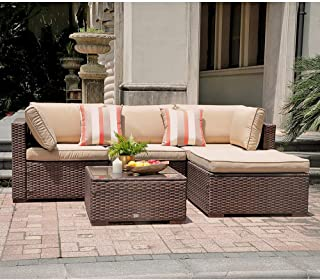 SUNSITT 5 Piece Patio Outdoor Furniture Set, All Weather Rattan Sectional Sofa with Ottoman & Washable Cushions, Brown Wicker & Beige Cushions