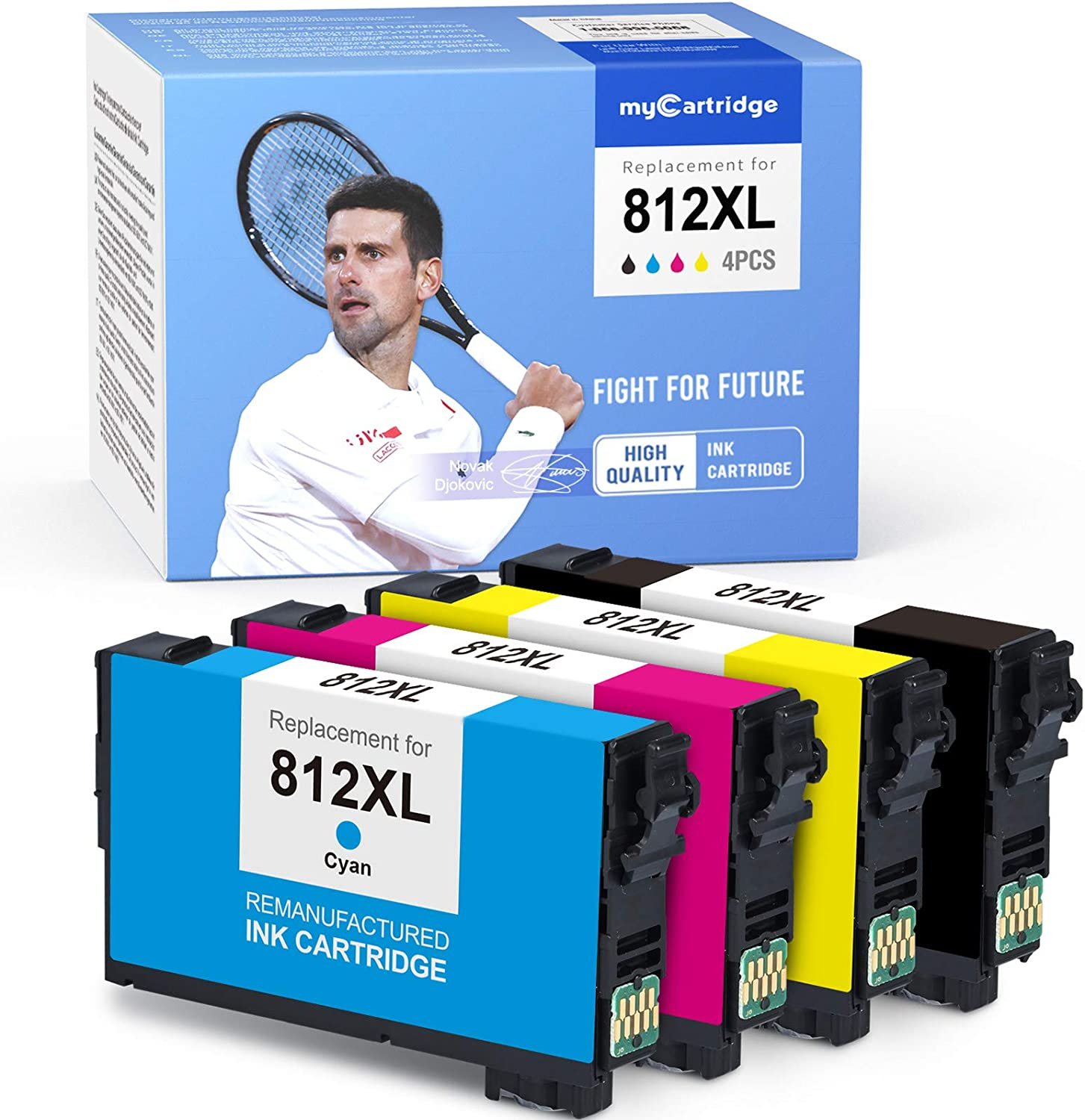 MYCARTRIDGE Remanufactured Ink Cartridge Replacement for Epson 812XL 812 XL T812XL Fit for Workforce Pro WF-7840 WF-7820 EC-C7000 (Black, Cyan, Yellow, Magenta, 4-Pack)