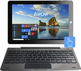 10.1 inch Windows Tablet PC - AWOW 2-in-1 Touchscreen Laptop 4GB RAM 64GB with Intel Atom Z8350, IPS Display, Dual Webcam, Micro SD, Detachable Keyboard