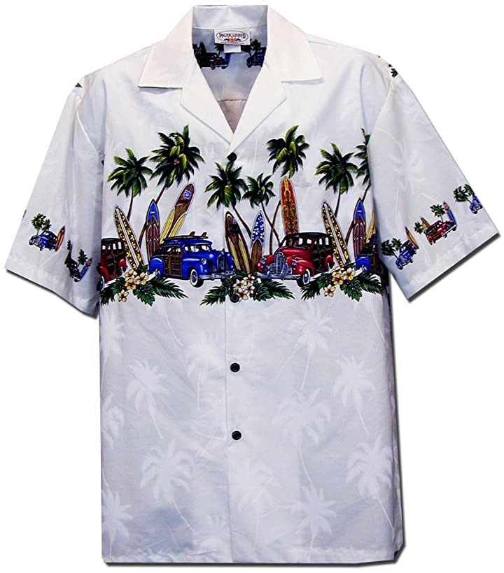 Pacific Legend Mens Old Time Woodie Surfboard Chest Band Shirt