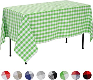 VEEYOO Rectangular Round Plaid Check Tablecloth Gingham 100% Cotton Square Table Cloth for Home Kitchen Party Indoor or Outdoor Use (White & Lime, 60x102 inch)