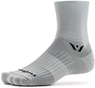 Swiftwick- ASPIRE FOUR | Socks Built for Trail Running & Cycling | Fast Drying, Firm Compression Crew Socks