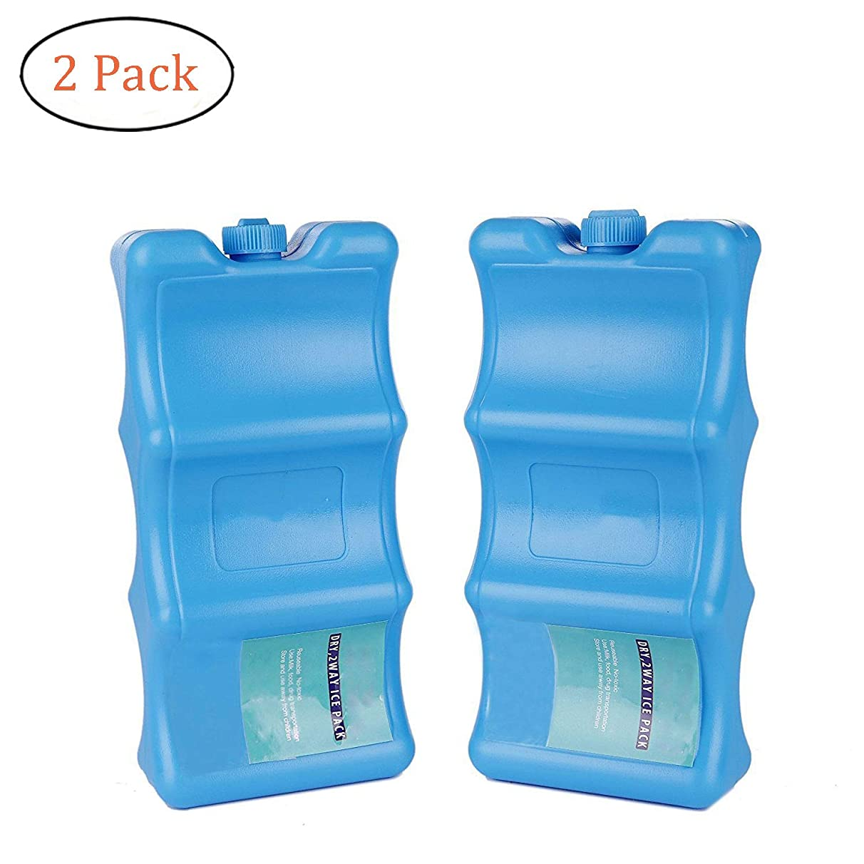 SRHOME 2 Pack Cool Coolers Ice Packs for Lunch Boxes,Reusable Lunch Ice Packs for Coolers,Two-Way Wave Shape Keep Food Breast Milk Drink Fresh &Cold- Outdoor Events, Picnic, Fishing & Camping Trips