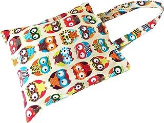 Caixia Women's Cotton Colorful Owl Print Canvas Tote Shopping Bag
