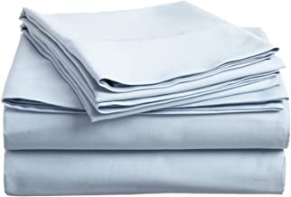 100% Premium Combed Cotton, 300 Thread Count; Deep-fitting pocket, Soft & Smooth 3-Piece Twin Sheet Set, Solid Light Blue