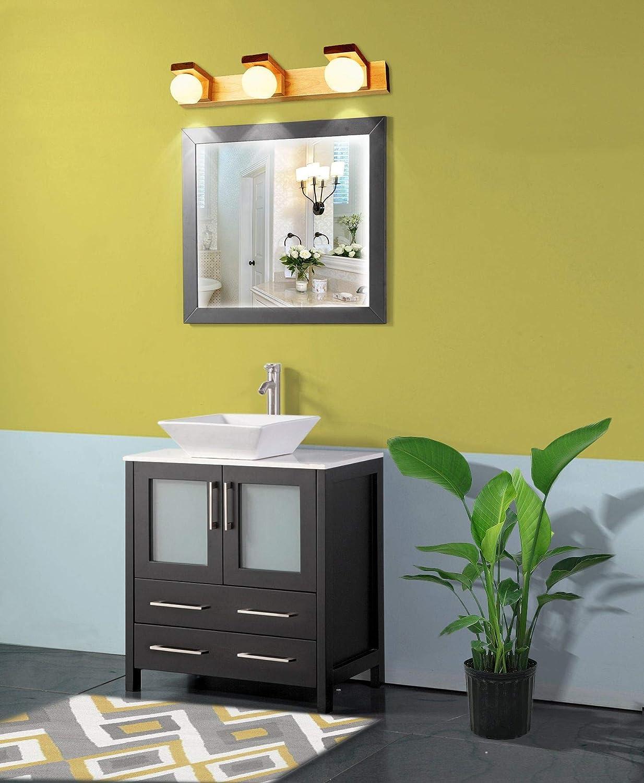 Amazon Com Vanity Art 30 Inch Single Sink Bathroom Vanity Set 1 Shelf 2 Dove Tailed Drawers Quartz Top And Ceramic Vessel Sink Bathroom Cabinet With Free Mirror Va3130 E Home Kitchen