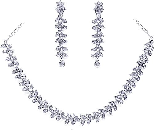 Zaveri Pearls Twinkling Leaf Twigs Austrain Diamnond Necklace Set for Women-ZPFK460