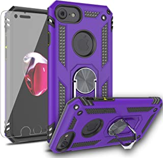 AYMECL iPhone 8 Case,iPhone 7/iPhone 6/iPhone SE2 Case with HD Screen Protector,[Military Grade] 360 Degree Magnetic Support Metal Ring Armor Shockproof Cover for Apple iPhone 8/7/6/SE2-ST Purple