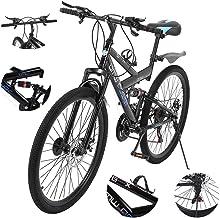 Sengei 26 Inch Mountain Bike Dual Disc Brake 21-Speed Full Suspension MTB Bikes, Lightweight and...