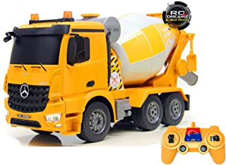 Bo-Toys Rc Mercedes Benz Actros Cement Mixer Heavy Construction Truck Remote Control 1:26 Lights Sound