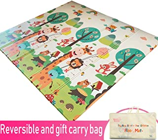 Infant Shining Baby Play mat, Playmat, Baby mat (200cm x 180cm) Extra Large Thick Foam Folding Crawling playmats Reversible Waterproof for Babies (car City)