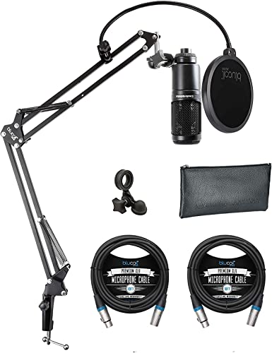 wholesale Audio Technica AT2020 Cardioid Condenser Microphone outlet sale for Project & Home Studio Applications Bundle with Blucoil Boom Arm Plus online sale Pop Filter, and 2-Pack of 10-FT Balanced XLR Cables sale