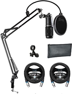 Audio-Technica AT2020 Cardioid Condenser Microphone Bundle with Blucoil Boom Arm Plus Pop Filter, and 2-Pack of 10-FT Bala...