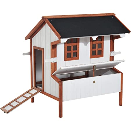 """PawHut 47"""" Chicken Coop Wooden Hen House Rabbit Hutch Raised Poultry Cage Portable Pen Backyard with Nesting Box and Handles"""