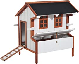 """PawHut 43"""" Raised Portable Backyard Wooden Cottage Chicken Coop with Nesting Box and Handles"""