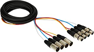 Monoprice 4-Channel XLR Male to XLR Female Snake Cable Cord - 10 Feet- Black/Silver with Metal Connector Housings Plastic ...