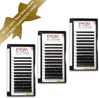 3 Packs Real Mink Eyelash Extensions D Curl Individual For Women 12mm 14mm and Mix(8-14mm) Real Mink Lashes Individual Natural For 3D