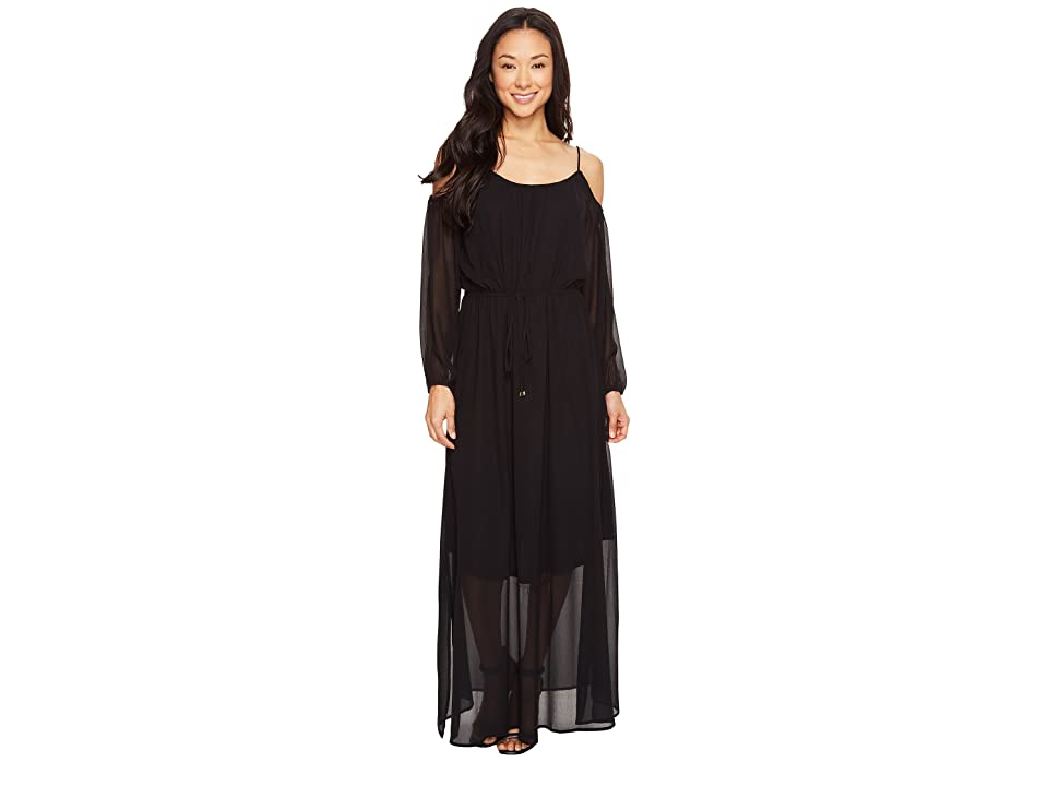 Calvin Klein Off Shoulder Maxi Dress (Black) Women