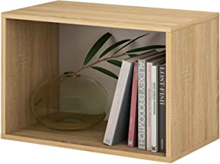 Samblo Mizu Cubo Apilable Rectángulo, Roble y Gris, 40x60x33 cm