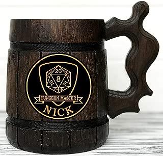 Dungeon and Dragons Mug. Dungeon Master Beer Mug. Dungeon Master Personalized Mug. D&D Gift. Personalized Beer Stein. Best Gift. Wooden Beer Mug. Personalized Gamer Gift Beer Tankard K142