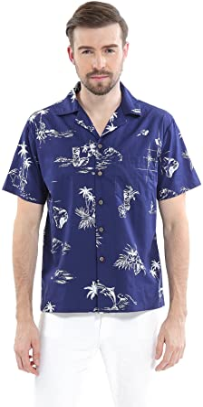 Hombres Aloha Camisa Hawaiana en Piña Azul Vintage