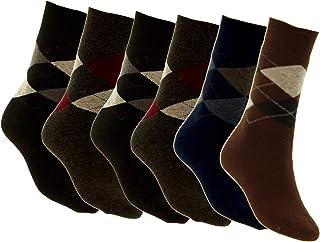 Piotrstrade, 6 pares de calcetines térmicos para hombre con patrón de cuadros, cálidos, de algodón, multicolor