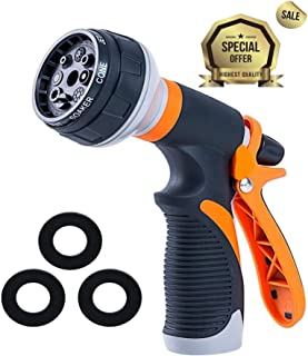 Garden Hose Nozzle Spray Nozzle | Water Nozzle with Heavy Duty 8 Adjustable Watering Patterns, Slip and Shock Resistant for Watering Plants, Cleaning, Car Wash and Showering Pets