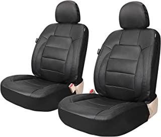 Leader Accessories Platinum Vinyl Faux Leather Universal Car Front Seat Covers 2 pcs/set Black Airbag Compatible with Headrest Cover