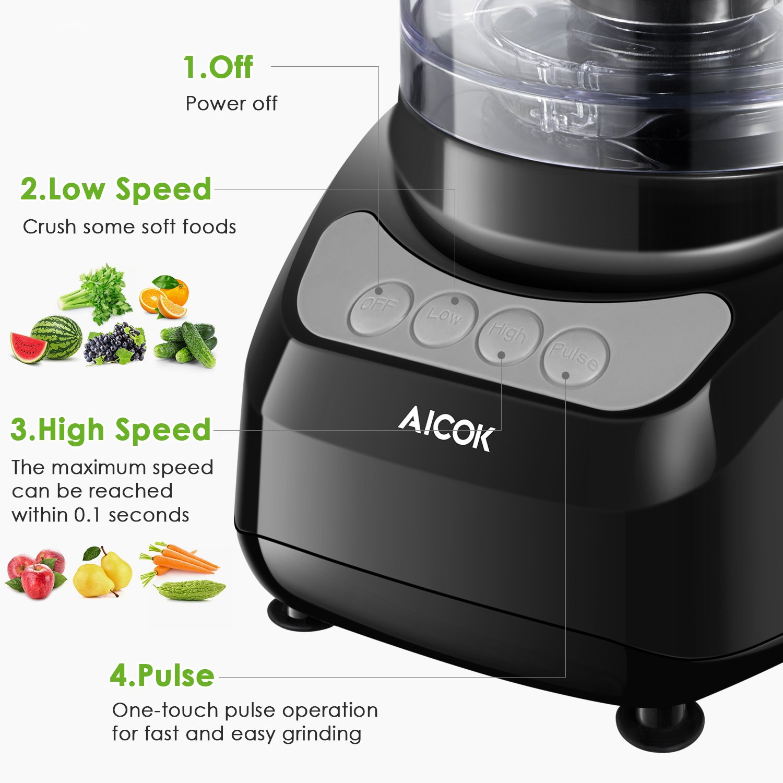 Procesador de Alimentos, AICOK 900W 2.4L Robot de Cocina, Cortador ...