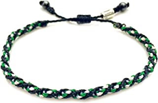 Woven Adjustable Knot Sailor Rope Bracelet Black Green White Wax Cord RUMI SUMAQ
