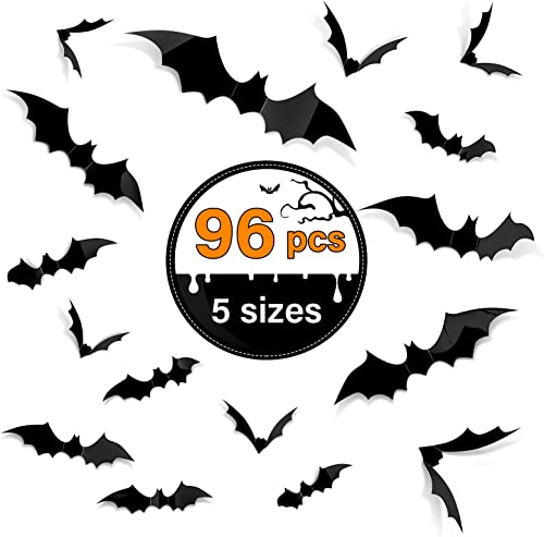 popular Kidtion 96 PCS Halloween 3D Bats 2021 online sale Upgraded, 5 Different Sizes Halloween online sale Decorations Indoor DIY Party Supplies, Realistic PVC Scary Black Bat Sticker, Bat Wall Stickers Decals, Party Supplies outlet sale