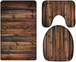 A.Monamour Old Rustic Wooden Planks Wood Texture Backgrounds Art Decors Soft Flannel Cloth Washable Bath Mat Rug Set Toile...