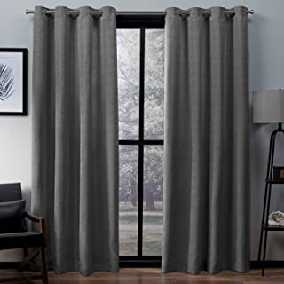 Exclusive Home Curtains Virenze Faux Silk Window Curtain Panel Pair with Grommet Top, 54x63, 2 Piece