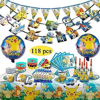 Decoración de la Fiesta de cumpleaños Infantil de Pokemon, Pokemon Pulsera de Silicona para la celebración de Fiestas para 10 Invitados (118 Piezas)