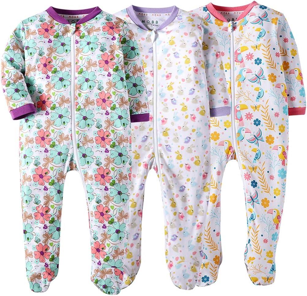 MQBB Marquebaby Baby Boys Girls One-Piece Footies Organic Cotton Jumpsuit Zip Front Romper