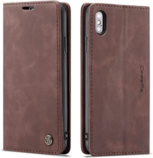 Cover Case for iPhone X iPhone Xs Apple,Coffee Holder Flip Shell Vintage Matte Leather Cash Slot 5.8inch Retro 2Card Slot (ID Card,Credit Card) Full Protection Accurate Cutouts Gift Girls Boys