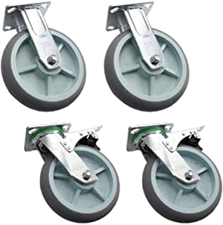 LYQQQQ 4 stuks zware zwenkwielen, 12,7 cm / 12,7 cm / 12,7 cm / 5 inch / remwielen, met bovenste plaat, dubbele lagering, ...