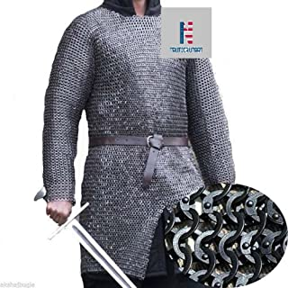 Chain Mail Shirt Armor 10 mm Flat Riveted with Washer Medieval Armour SCA- Medium