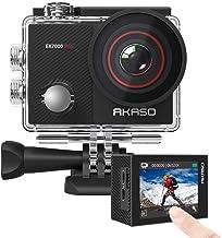 AKASO EK7000 Pro 4K دوربین فیلمبرداری با صفحه لمسی EIS قابل تنظیم زاویه دید 40 متری ضد آب دوربینی کنترل از راه دور دوربین ورزشی با کلاه لوازم جانبی کیت