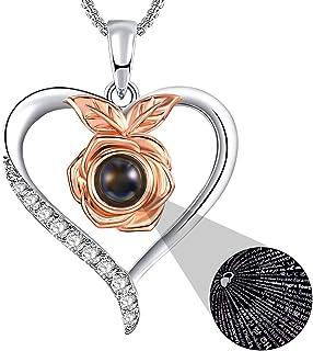 SNZM Collier Pendentif Coeur Rose pour Femme, Je t'aime Collier 100 Langues Cadeaux de Bijoux pour Anniversaire de Noël