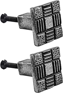 Renovator's Supply Iron Cabinet Drawer Pulls Square Aztec Pewter Finish Cabinet Hardware Pack Of 2