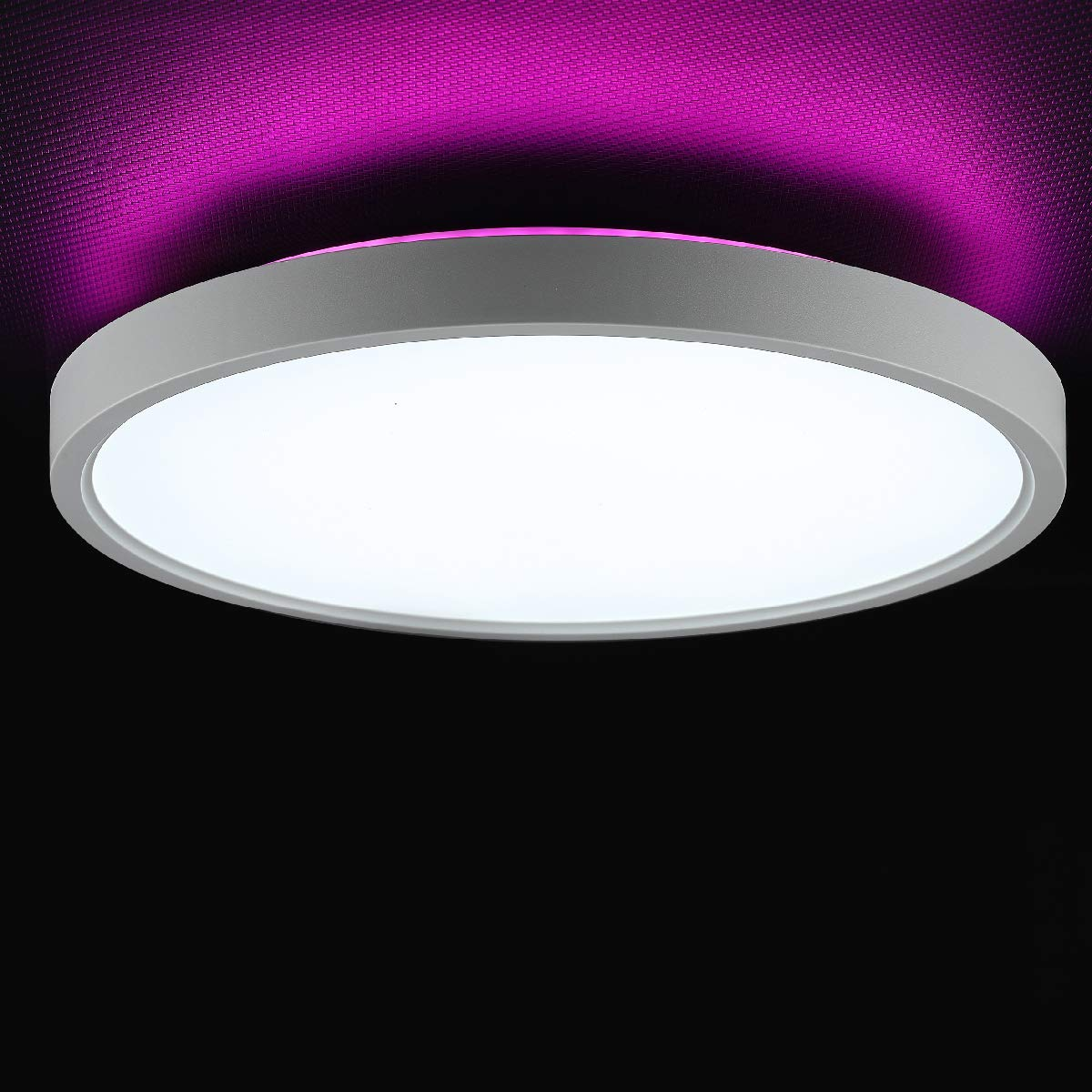 Taloya Led Flush Mount Ceiling Light With Back Ambient Light Pink 12 Inch 24w Round Low Profile Surface Mount Light Fixture For Kids Nursery Girl Room Bedroom Easy Installation Amazon Com